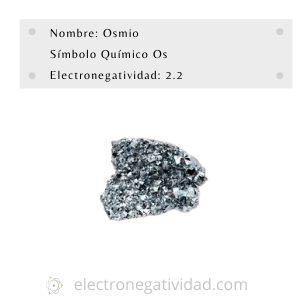 electronegatividad del osmio