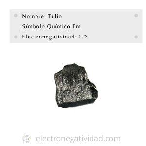 Electronegativdad del tulio