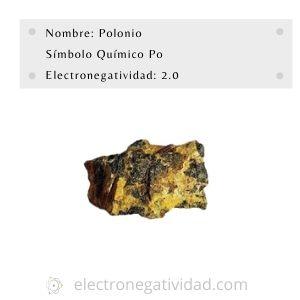 electronegatividad del polonio