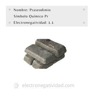 electronegatividad del praseodimio