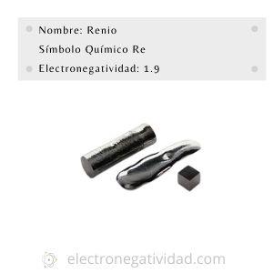 electronegatividad del renio