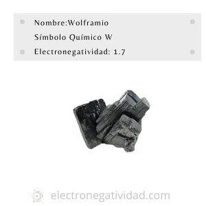 electronegatividad del wolframio